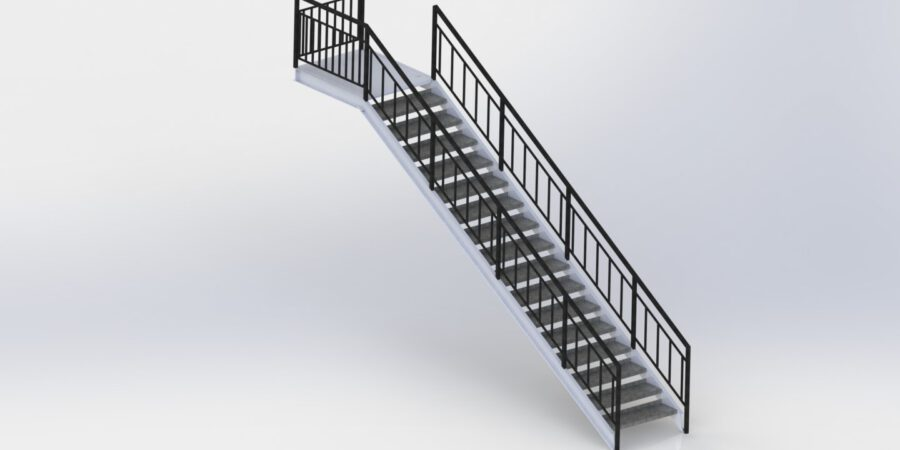 The CAD model of stairs which is applied structural analysis