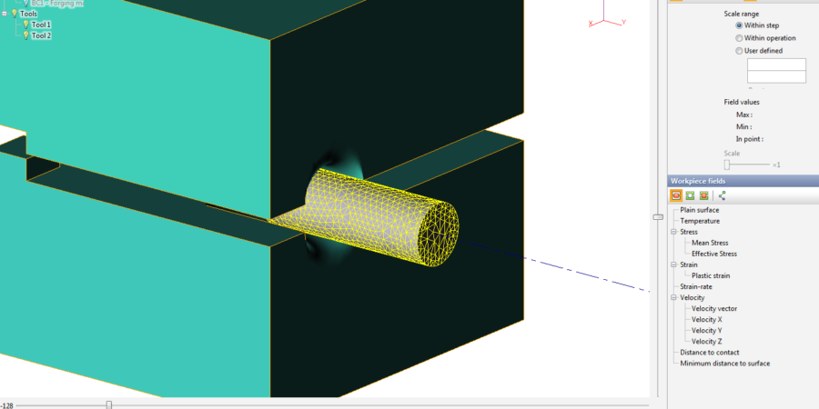 The mesh view of workpiece