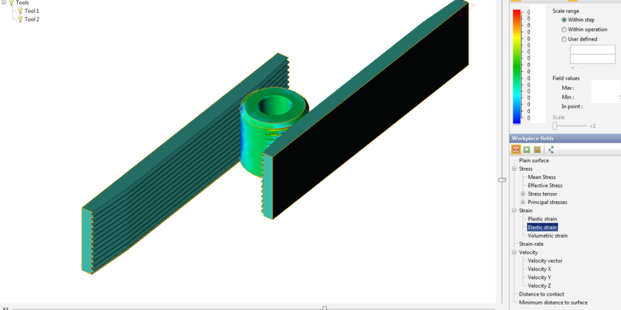 The detail view of elastic strain on workpiece