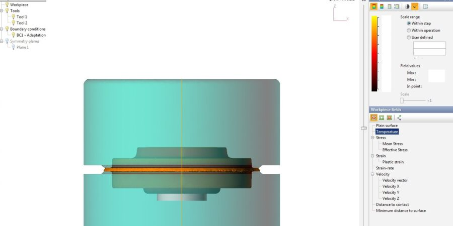 The detail view of temperature on workpiece