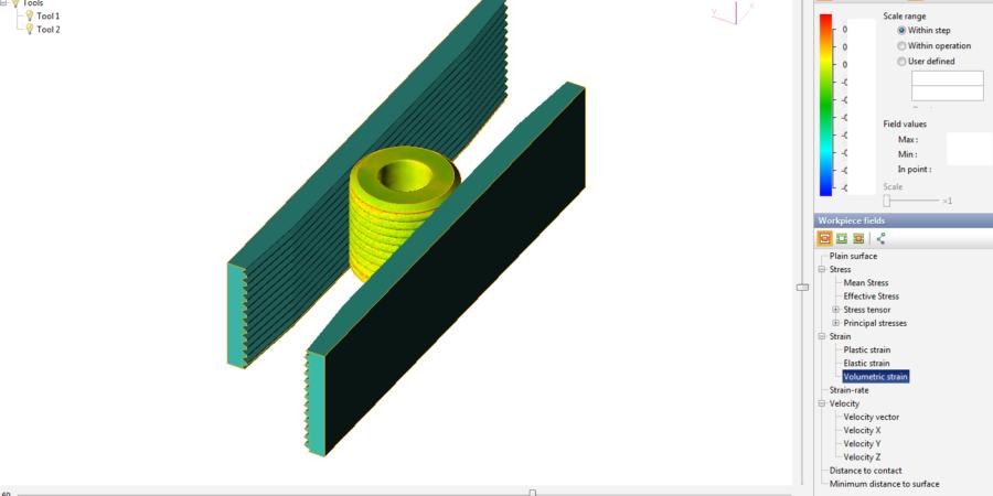 The detail view of volumetric strain on workpiece