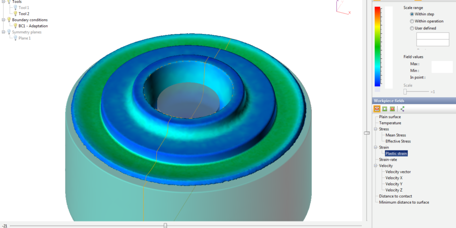 The detail view of plastic strain on workpiece