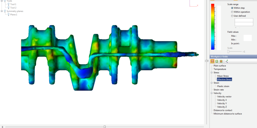 The detail view of effective stress on workpiece
