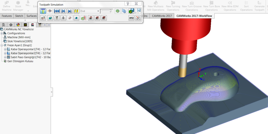 Local Area Clearance Simulate toolpaths