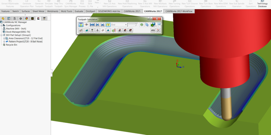Between 2 Curves Toolpaths Simulation