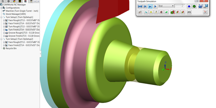 Turn Rough and Finish Toolpaths Simulation