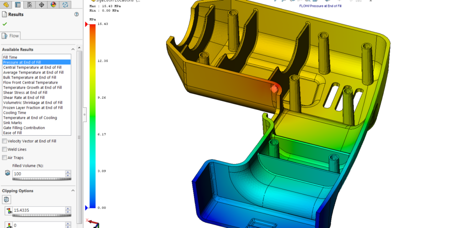 The detail view of required pressure for injection on geometry