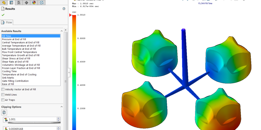 The detail view of time dependent fill time on geometry which is applied plastic injection.