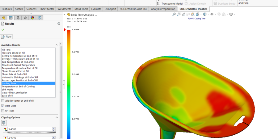 The detail view of required cooling time for injection on geometry