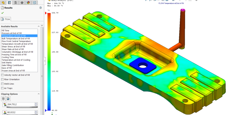 The detail view of current temperature distribution on geometry when injection process is done