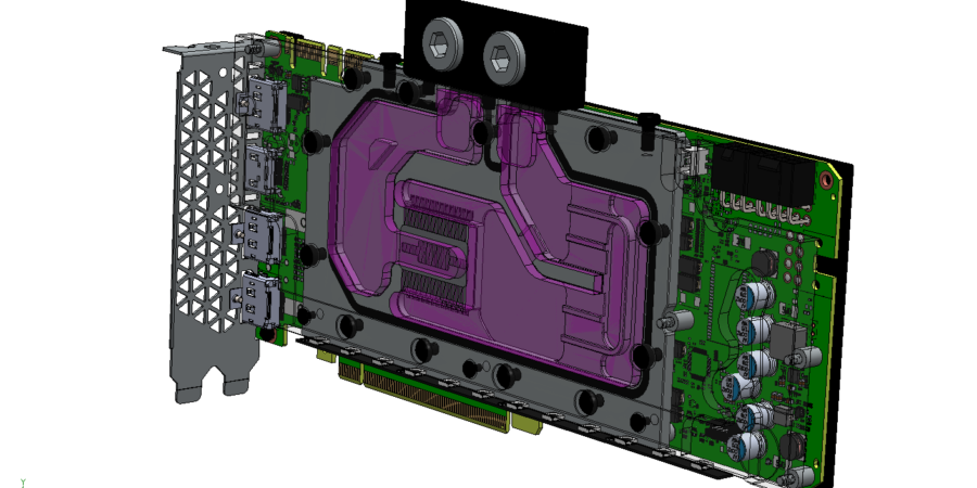 The detail view of graphics processing unit with liquid cooling